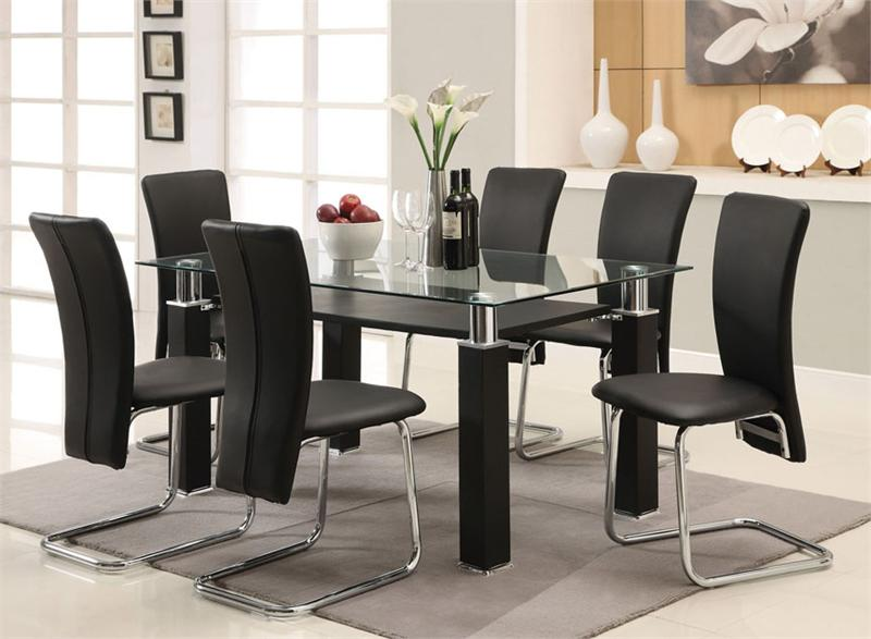 Square glass dining tables and chairs